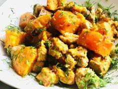 Mustáros, pirított húskockák batátával, friss kaporral - HENI SÜT NEKED Naan, Minion, Shrimp, Food, Meal, Essen, Hoods, Meals, Minions