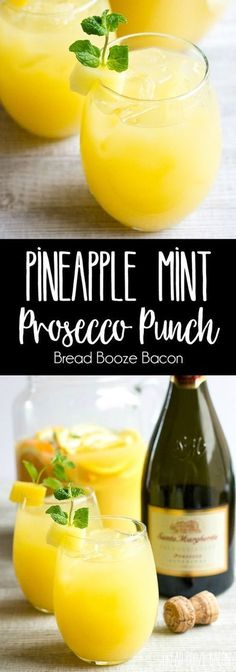 Pineapple Mint Prosecco Punch is a light and refreshing cocktail perfect for brunch or backyard parties! #SantaMargherita #ad