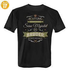 Fashionalarm Herren T-Shirt - Seine Majestät der Bruder betritt den Raum | Fun Shirt mit Spruch als Geburtstag Geschenk Idee Geschwister, Farbe:schwarz;Größe:4XL (*Partner-Link)