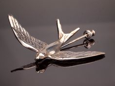 Silver Bird Stick Pin for Lapel or Cravat by BelmontandBellamy