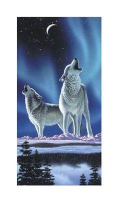 Badetuch, Strandtuch, Saunatuch - Wölfe - Wolf - Motiv: Earth Song - traumhaft schön - 100 % Baumwolle - Grösse: ca.150 x 75 cm - ca. 320 g/m² schwer - NEU