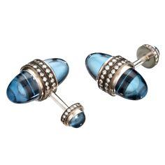 Gavel Blue Topaz and Diamond Cufflinks