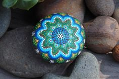 Hand Painted River Stone Blue Peace Mandala stone by ArtByEvaMarie