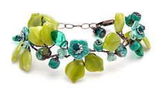Green and Turquoise Flower Bracelet Beaded by CherylParrottJewelry, $74.95
