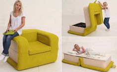 An arm chair folds out to a single-bed with mattress and pillow storing inside. It is practical for homes that have visitors stop by occasionally.