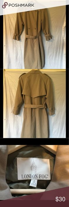 London Fog light weight trench coat 8 petite London Fog light weight trench coat. Dark tan in color. Great used condition. Has some discoloring on back and back of right arm as shown in photos London Fog Jackets & Coats Trench Coats
