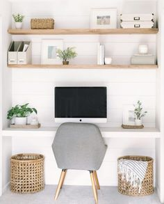 I think the floating shelves are a cool look, but I would like them to be white so with the accent wall they would pop. Home Office Space, Home Office Design, Home Office Decor, Diy Home Decor, Closet Office, Closet Desk, Office Room Ideas, Closet Mudroom, Office Designs