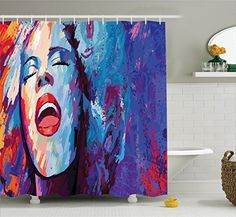 Jazz Music Decor Shower Curtain Set by Ambesonne Illustration of Singer on Grunge Background Performing Singing Woman Image Bathroom Accessories 84 Inches Extralong Blue Purple Red * Find out more about the great product at the image link. Note:It is Affiliate Link to Amazon.