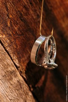 Unique way to photograph wedding rings especially for a rustic wedding or if the bride and groom love fishing.