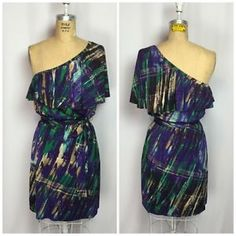 Laundry by Shelli Segal Abstract One Shoulder Flutter Dress Size 8 | eBay