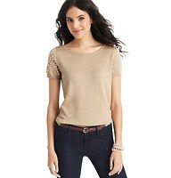 Love this sweater for Thanksgiving!! Pearlized Gem Short Sleeve Sweater - A smattering of pearlized beads and gems at the sleeves gives this delicate cutie its undeniably sweet appeal. Ballet neck. Short sleeves. Banded neckline, cuffs and hem.