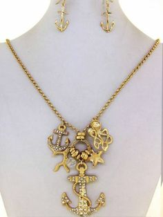 Chunky Anchor Starfish Charm Gold Necklace Earring Set Fashion Costume Jewelry   eBay