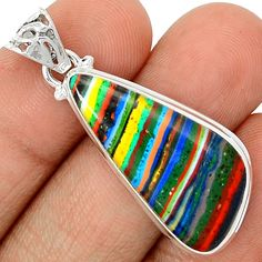 Rainbow Calsilica 925 Sterling Silver Pendant Jewelry RBCP773