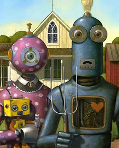 """A new kind of family portrait - clever idea. Robot version of """"American Gothic"""" painted by Geoffrey Gersten - from Faith is Torment Grant Wood, American Gothic Painting, American Gothic Parody, Arte Robot, Robot Art, Steampunk, Famous Artwork, Bizarre, Deviant Art"""