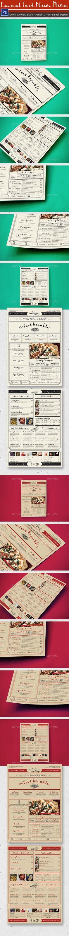 Casual Food News Menu Template PSD #design Download: http://graphicriver.net/item/casual-food-news-menu/14373949?ref=ksioks