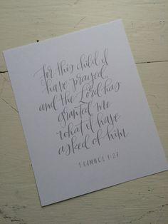 Voor dit kind Print | Samuel 1:27 | 8 x 10 handlettered afdrukken
