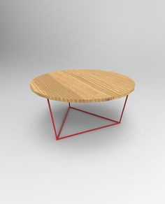 Modern Round Coffee Table with Solid Wood Top and by PWHFurniture