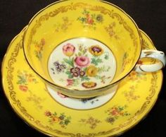 Jackson Gosling Tulips Bright Yellow Tea Cup and Saucer