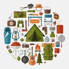 Hiking icons set. Camping equipment vector collection. Binoculars bowl and barbecue. Tourist lantern hat and tent. Base camp gear and accessories. Camping icon set. Hike outdoor elements.