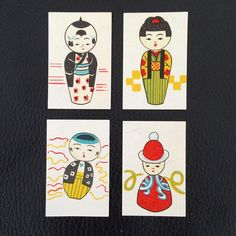 Japanese dolls. Matchbox labels from Japan featuring a series of miniature dolls. #dolls #wooden dolls #painteddolls #japanesedolls #japanesematchboxlabels | Design for Today instagram