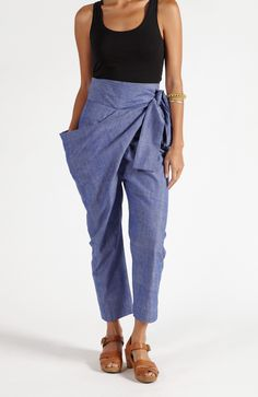 The Sideswept Dhoti Pants in Chambray Denim | MATTER | MATTER