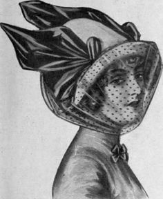 When worn as here shown a running is put in the top of the veil to keep it in position. It is then caught up loosely at the back