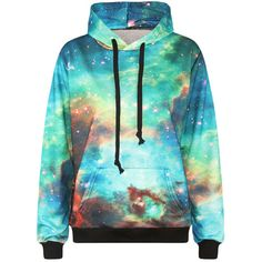 Womens Long Sleeve Galaxy 3D Digital Print Pullover Hoodie Turquoise (25 AUD) ❤ liked on Polyvore featuring tops, hoodies, turquoise, galaxy pullover, sweater pullover, hooded pullover sweatshirt, long sleeve pullover and hoodie pullover