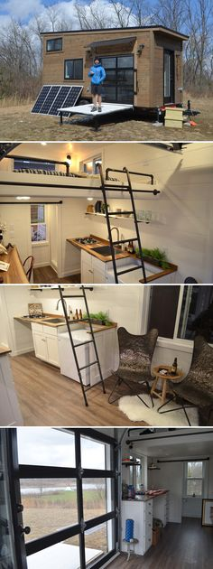 This 20 custom tiny house was built by Modern Tiny Living for outdoor enthusiast, Coleman. Named the Latibule, it will serve as Coleman's home base as he travels around on his climbing and skiing adventures. Tiny House Cabin, Tiny House Living, Tiny House Plans, Tiny House On Wheels, Tiny House Design, Loft House, Casas Containers, Tiny House Movement, Small Places