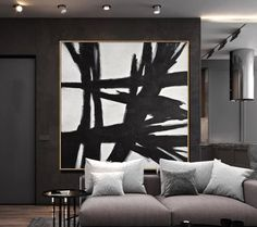 """An original painting by artist L. Beiboer, large black and white minimalism abstract wall art painting titled """"Reaching Out"""" The artwork is hand painted. Black And White Artwork, Black And White Wall Art, Black And White Abstract, Large Black, Black White, Expensive Art, Art Watercolor, Abstract Wall Art, Large Wall Art"""