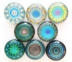 Mandala Magnets Glass Magnets Refrigerator by GiftsNThisNThat