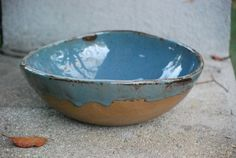 ceramic Serving  bowl handmade pottery  blue brown by claylicious