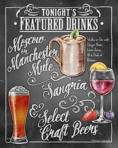 MULTIPLE DRINK Signature Drink Signage Chalkboard style Prints for Events