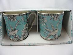 222 Fifth Adelaide Turquoise Fine China Coffee Cup Mug 12 oz. Birds Box Set  #222Fifth