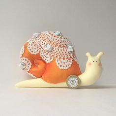 Snail toy Stuffed animal. Snail doll in orange silk shell. Plush Snail. by CherryGardenDolls