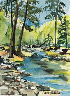 """#OakCreekCanyon Sedona, AZ, watercolor 7"""" x 10"""""""