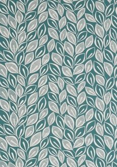 Leaves Teal with White - MISP1030 - Miss Print - Midbec - Tapeter-tyger.se