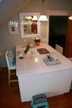 "mega craft table made using 4 24"" ikea akurum kitchen base cabinets"