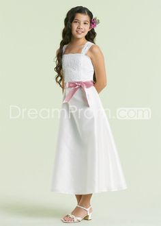 Charming Lace Tea-length Spaghetti Strap Flower Girl Dress for Bridal