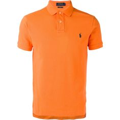Polo Ralph Lauren Classic Polo Shirt ($81) ❤ liked on Polyvore featuring men's fashion, men's clothing, men's shirts, men's polos, mens short sleeve shirts, mens straight hem shirts, mens orange shirt, mens short sleeve polo shirts and men's cotton polo shirts