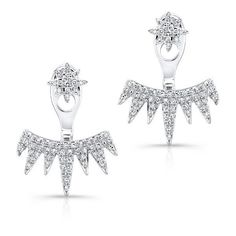 14kt white gold diamond spiked tiara floating earrings (4.185 RON) ❤ liked on Polyvore featuring jewelry, earrings, diamond jewellery, white gold diamond jewelry, triangle jewelry, earring jewelry and diamond earring jewelry