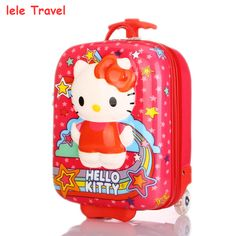 free shipping 2015 hot sale hello kitty 3D Children\'s kids love luggage suitcase trolley travel case boxs school bag