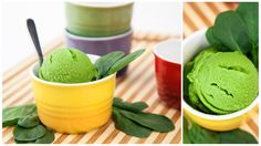 Spinach Ice Cream  This sweet, almond-flavored ice cream is low in calories and full of green produce. It's an ice cream everyone can feel good about eating.