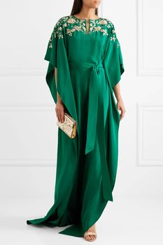 Oscar de la Renta - Embroidered Embellished Silk Crepe De Chine Gown - Forest green