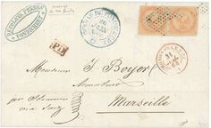 "India - ""Losenge de 100 points"" : 1864 EAGLE pair 40c canc. by very cachet of 100 dots (instead of 81 dots) on cover from PONDICHERY to FRANCE. Signed CALVES. A few covers kwown. Vf.  Lot condition   Dealer Lugdunum  Auction Starting Price: 1000.00 EUR"