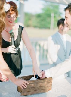 Vineyard Wedding Time Capsule:  Bride & Groom write letters to each other to be inserted in a box with a bottle of wine from the vineyard where they were married.  Box to be opened on 5th Anniversary (or any anniversary).  I think you could also add additional letters from close family & friends (or entire guest list, if it's a short list) that were written for and/or about the couple!
