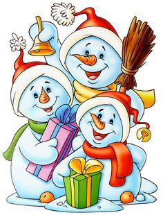 snowman family w/gifts