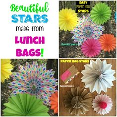 These Easy Paper Bag Stars are adorable! There are so many different colors and designs to make! Diy Paper Bag, How To Make A Paper Bag, Paper Crafts, Valentinstag Party, Upcycled Crafts, Diy Crafts, Paper Bag Flowers, Small Paper Bags, Paper Bag Puppets