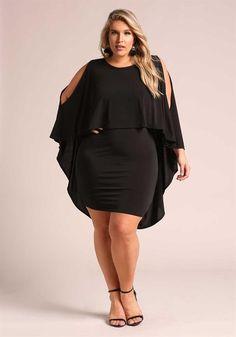 Plus Size Cold Shoulder Hi-Lo Cape Bodycon Dress Big Girl Fashion, Curvy Fashion, Plus Size Fashion, Plus Size Intimates, Plus Size Lingerie, Plus Size Party Dresses, Plus Size Outfits, Xl Mode, Moda Feminina Plus Size