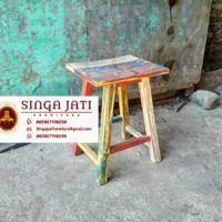 kursi Kafe Rustik Minimalis Kayu Jati Berkualitas - Singa Jati Stool, Modern, Table, Furniture, Home Decor, Trendy Tree, Decoration Home, Room Decor, Stools