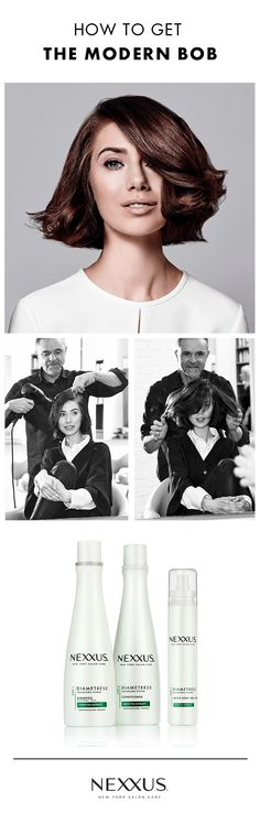Try a modern bob that's all about movement & ease: 1. Start with Nexxus® Diametress Shampoo & Conditioner, our Luscious Volume System custom crafted to add volume and prep hair for natural movement. 2. Work Diametress Lavish Body Gel from root to tip to build body while keeping hair soft & brushable. 3. Use a round brush to blow-dry, rounding into a spiral (as with a curling iron) to achieve soft waves. 4. To capture & maintain softness, finish with our Comb Thru Finishing Mist. Gorgeous!